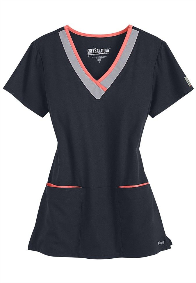 Greys Anatomy Active Collection 3 Pocket Scrub Top in XS Empire Purple/Black, Radiance/Black or Black/Radiance.