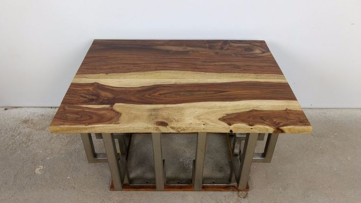 Industrial Design Couchtisch Sofa Tisch Sheesham 80 x 60 cm Handarbeit Unikat 4