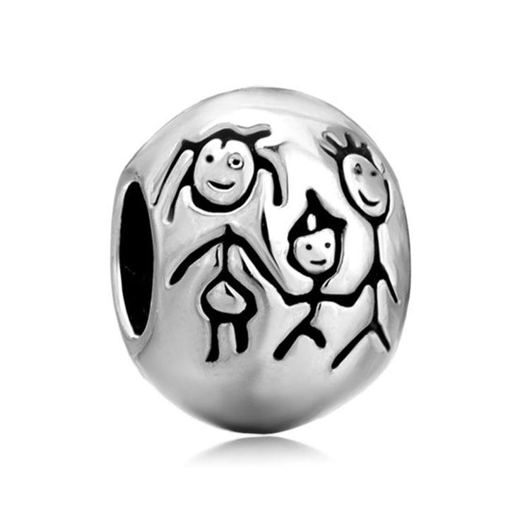 Mother Daughter Charm Love Family Heart Charm Bracelet European Bead Pugster.com