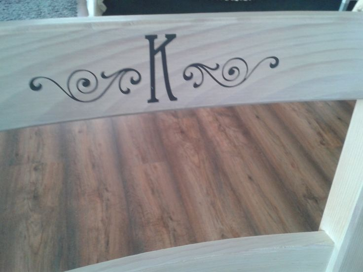 Pine table + chairs = wood stain sticker initials
