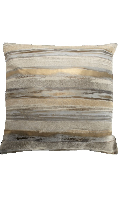 Barneys New York Metallic Striped Cowhide Pillow