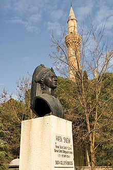 Ayşe Hafsa Valide Sultan was the first Valide Sultan (Queen Mother) of the Ottoman Empire, wife of Selim I and mother of Suleiman the Magnificent. During the period between her son's enthronement in 1520 and her death in 1534, she was one of the most influential persons in the Empire, as her son's de facto co-regent during these fourteen years, coming second only to the sovereign, which is a point remarked also by the ambassadors of European powers at the Ottoman court.