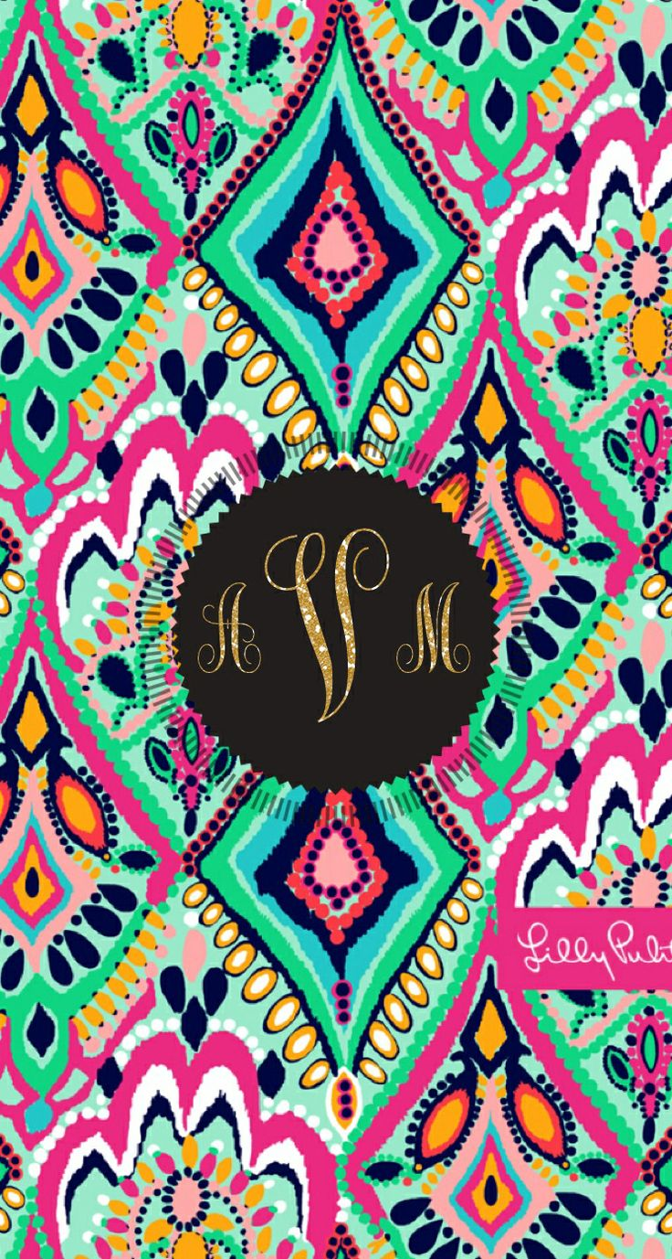 Lilly Pulitzer monogram background with glitter letters