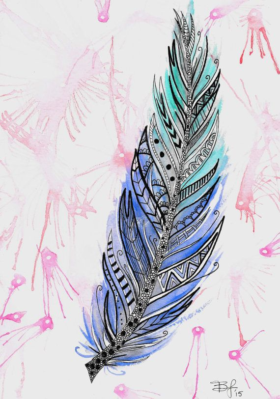 Zentangle Feather 6.5x9in Watercolor Painting Pen door BrietronArt