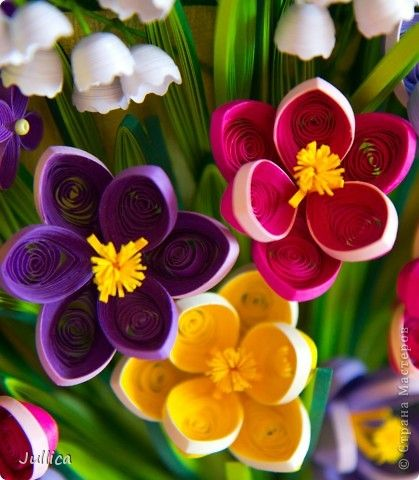 *QUILLING ~ Painting mural drawing Quilling Crocuses lilies and lilac stripes Photo Paper 4