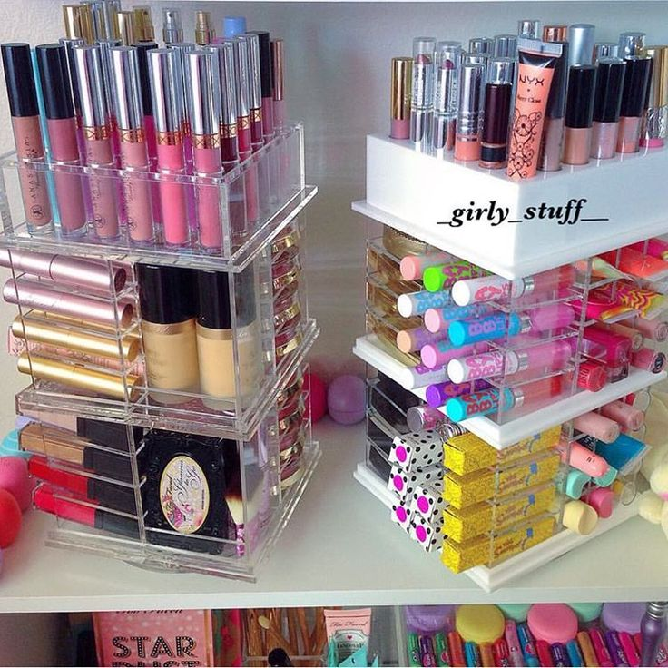 """Keep your lipsticks, lipglosses, foundation, eyeshadows , powder etc Organize with The Grand Spinning Tower i Available in Black, white, pink and…"""