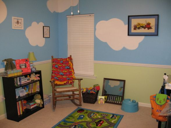 "Perfect Day Bedroom!, Theme for this room is Planes Trains and Automobiles. Painted the walls to look like the sky with grass at the bottom. The room almost has a ""cartoon"" like vibe to it. Its impossible to be in a bad mood in this room!, , Nurseries Design"