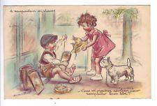 Carte postale Germaine Bouret - Collection métiers : Le rempailleur de chaises