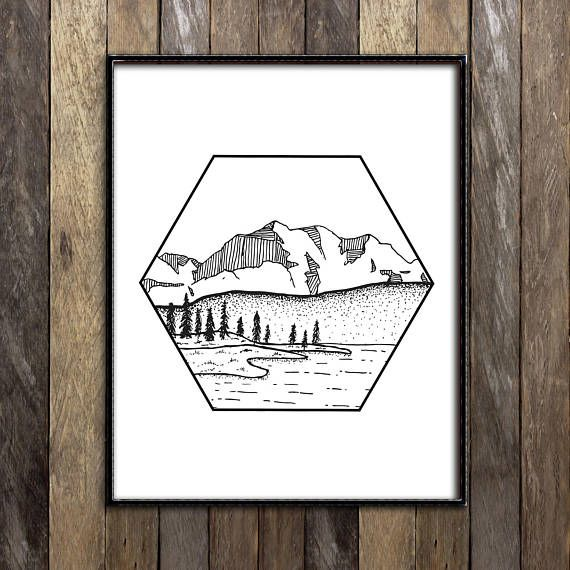 Mountain Print, Mountain Art, Illustration Print, Forest Print, Line Drawing, Ink Drawing, Black and White Wall Art Print Landscape Sketches