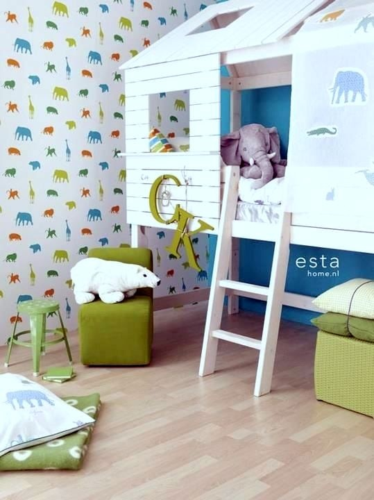 i want to make a tree house themed room... great idea with bed... add a swinging tire from ceiling