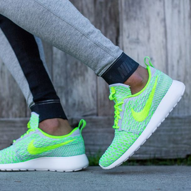 Another colorway of the Nike Flyknit Roshe Run for Spring 2015 is  highlighted. Find it