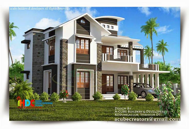 Home Elevation Designed Cube Builders Developers Thrissur Kerala Modern House Plans Designs