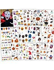 150x Halloween Temporary Tattoos for Kids Pumpkin Ghost Witch Owl Stick Tattoos – Bäder und Körperpflege