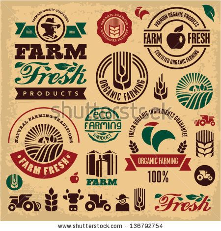 Farm fresh labels. Organic Farming isolated vector sign set. Farmer. - stock…