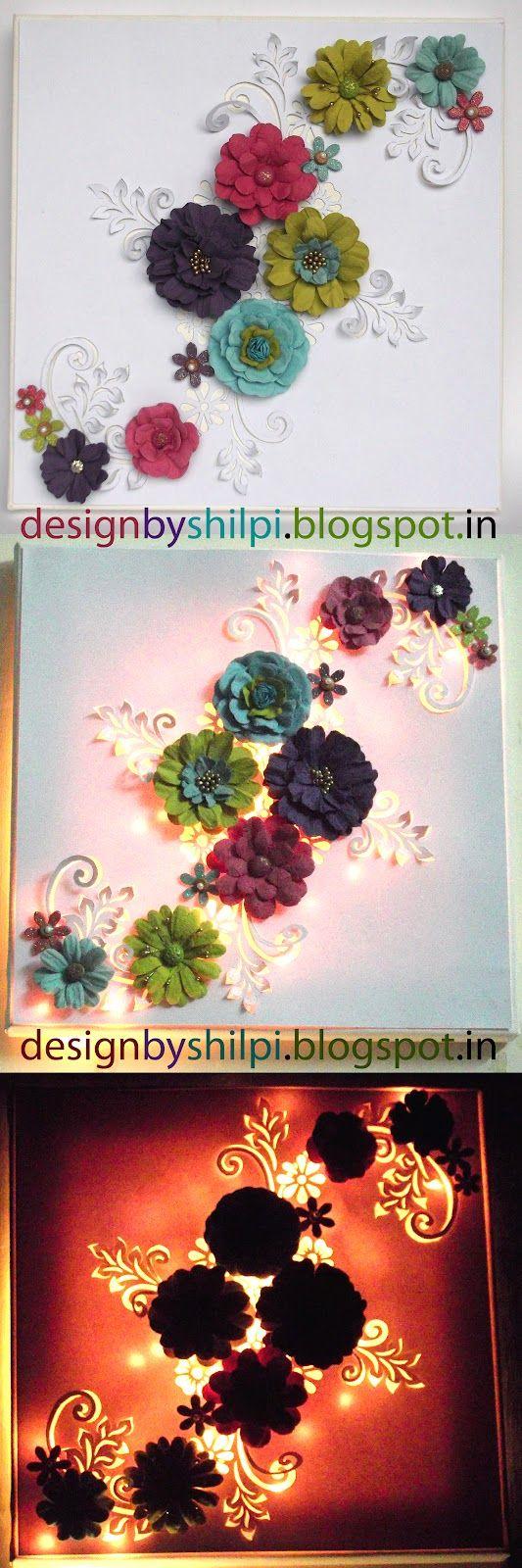 Design By shilpi: Lighted Floral CANVAS