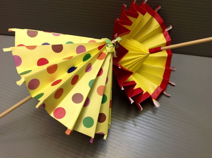 How to make an origami umbrella. ---------- Origami: Umbrella Designed By: Traditional Origami Style: Square (4 sheets of paper - SCISSORS and GLUE needed!) ...