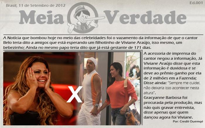 Cantor Belo diz estar gestante de Viviane Araújo