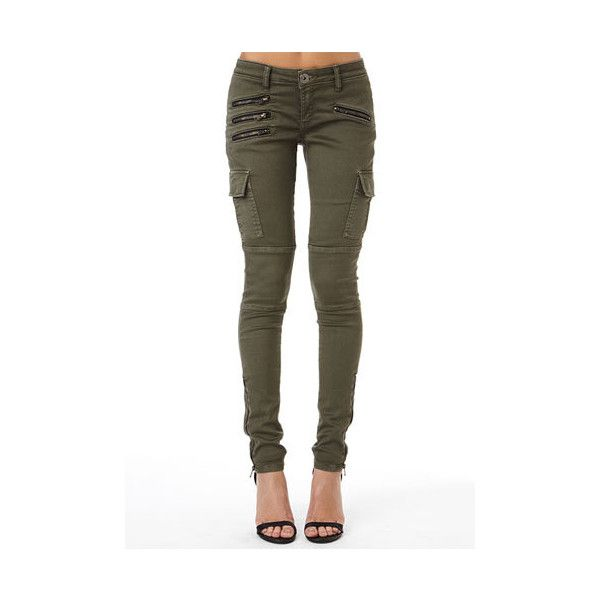 Alloy TALL Jagger Zipper Cargo Pant ($20) ❤ liked on Polyvore featuring pants, jeans/pants, olive, olive pants, stretch skinny pants, stretch pants, white pants and stretchy pants