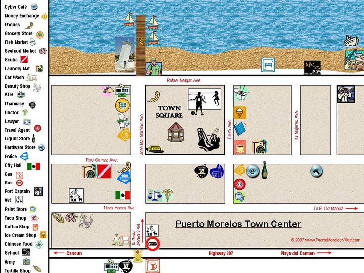Map of what is where in Puerto Morelos, Mexico
