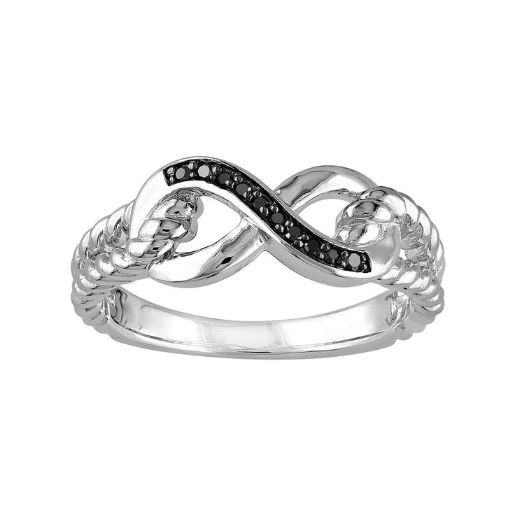 Black Diamond Accent Sterling Silver Infinity Ring, Women's, Size: 5