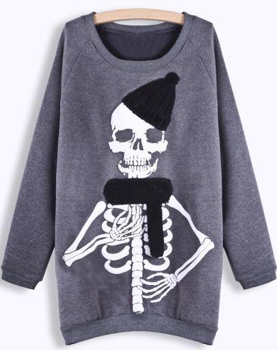 Grey Long Sleeve Skull Print Sweatshirt pictures