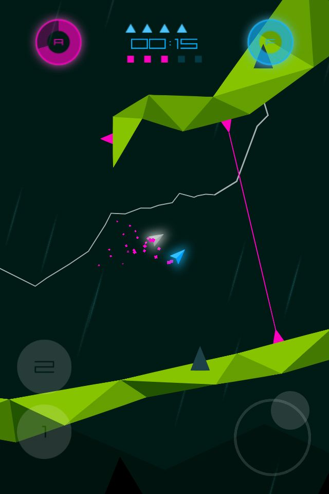 Heavy Rockets iPhone 4 screenshot. Low polygon cave shooter game. http://www.heavyrockets.com