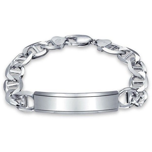 Bling Jewelry Bling Jewelry 925 Silver Mens Marina Chain Id Bracelet... ($100) ❤ liked on Polyvore featuring men's fashion, men's jewelry, grey, mens watches jewelry, mens chains, mens silver chains and mens id bracelet