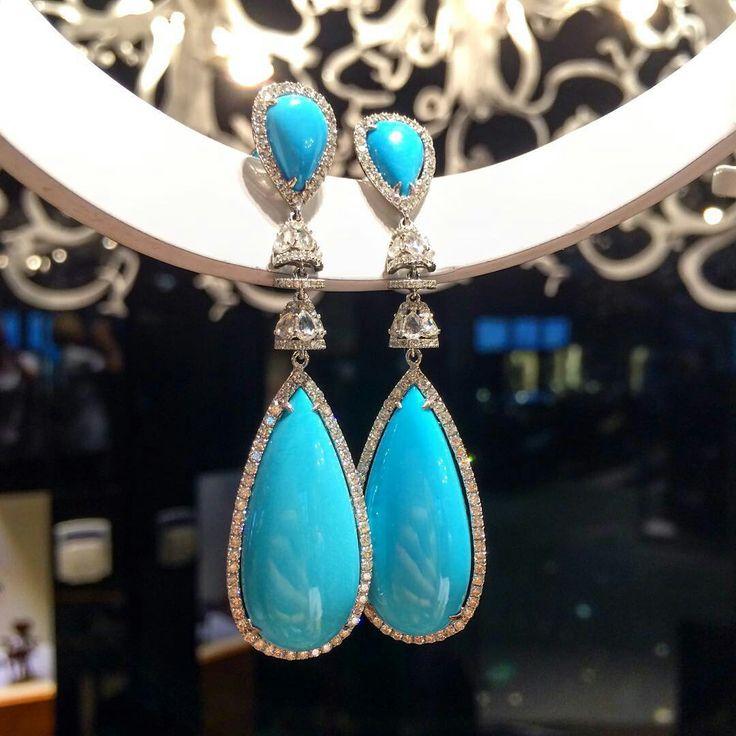 @ambassadjewels. Turquoise and diamonds earrings