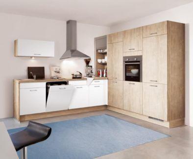 Einbauküche Wellmann Küche Model 107 Alva Wildahorn / Ultraweiß - Ecklösung für Kaffeemaschine und Rechte Seitenwand