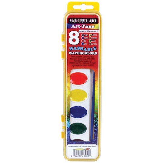 Sargent Art Washable Paints 12 Regular and Fluorescent Colors 12-Color Set