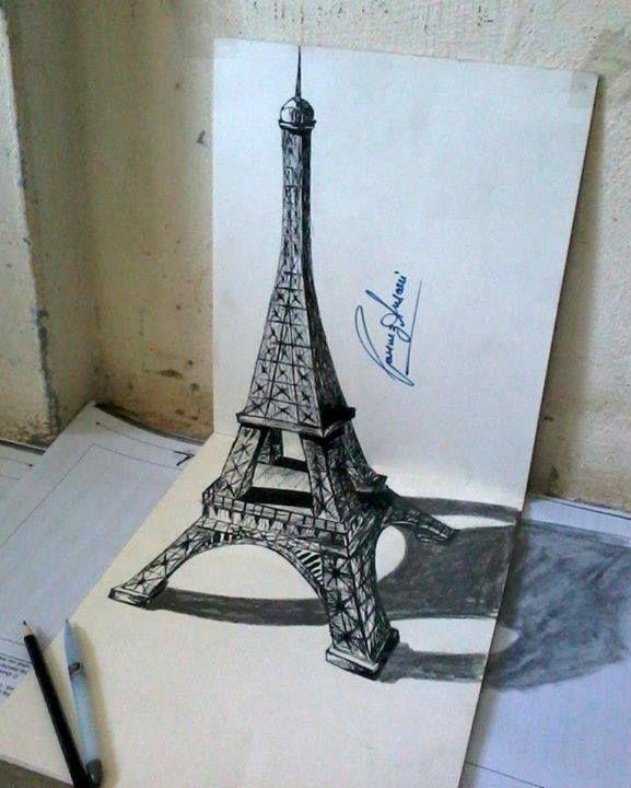 eiffel tower drawing illusion by Parvez Ansari