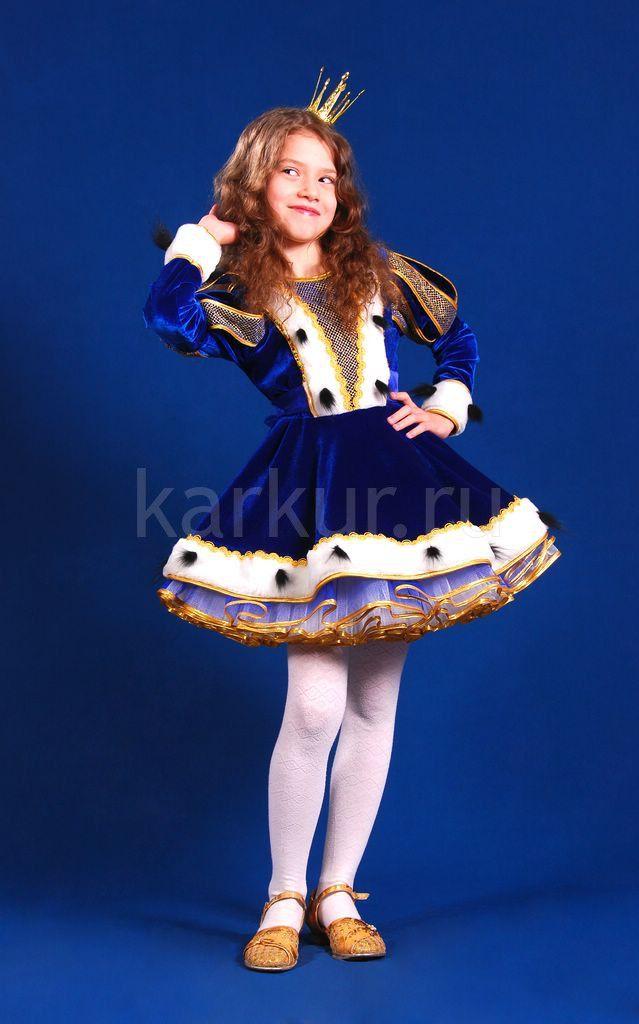 Детский карнавальный костюм для девочки от 5 до 10 лет «Принцесса (синий бархат)»