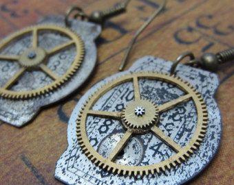 Steampunk Earrings - Time keeper - Steampunk watch parts - Repurposed art