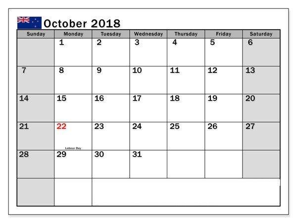 October 2018 Calendar With Holidays Nz 2019 Calendar Canada