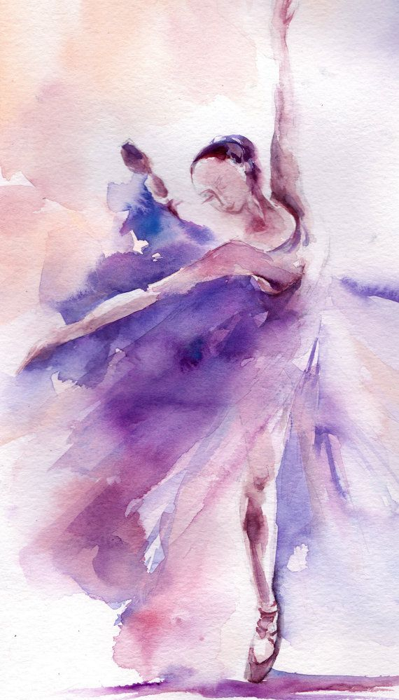 Original Watercolor Painting Ballerina Painting por CanotStop                                                                                                                                                                                 Más