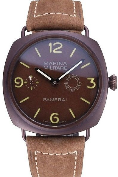 Replica Mens Panerai Luminor Marina Militare Purple Stainless Steel Bezel Brown Dial Watch With Khaki Suede Leather Strap