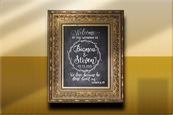 Hand lettered Chalkboard Welcome Wedding Sign Printable 1