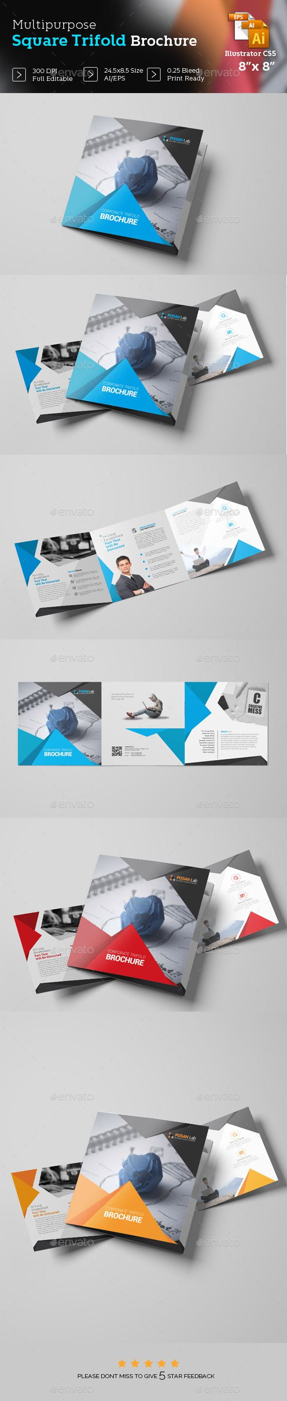 Square Trifold Brochure Template - #Brochures Print #Templates Download here: https://graphicriver.net/item/square-trifold-brochure-template/19426971?ref=alena994