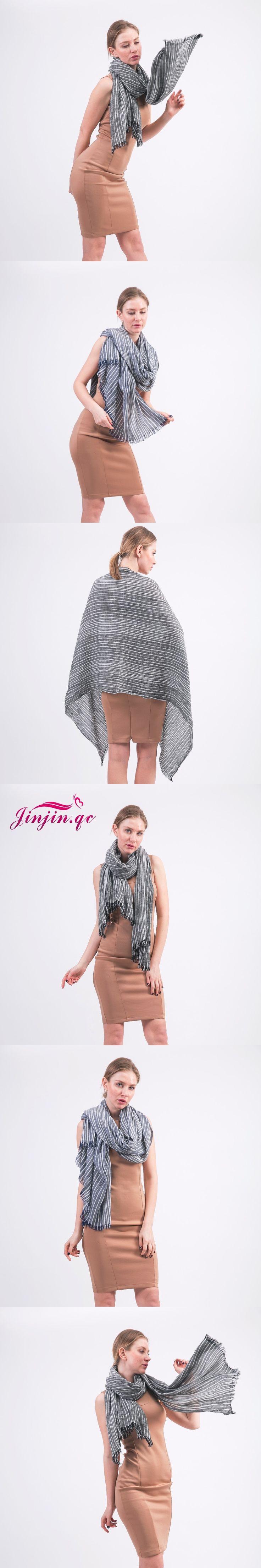 [Jinjin.QC] Brand linen Spring Scarf Men Tassel Bufandas Cachecol Striped Wrinkled Cotton Scarves bandana echarpe foulard femme
