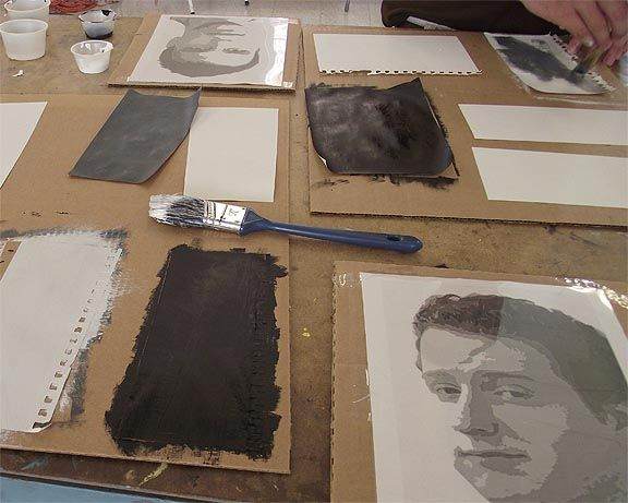 Torn paper self portraits, this is almost exactly like a project I'm doing with grade 6 now...