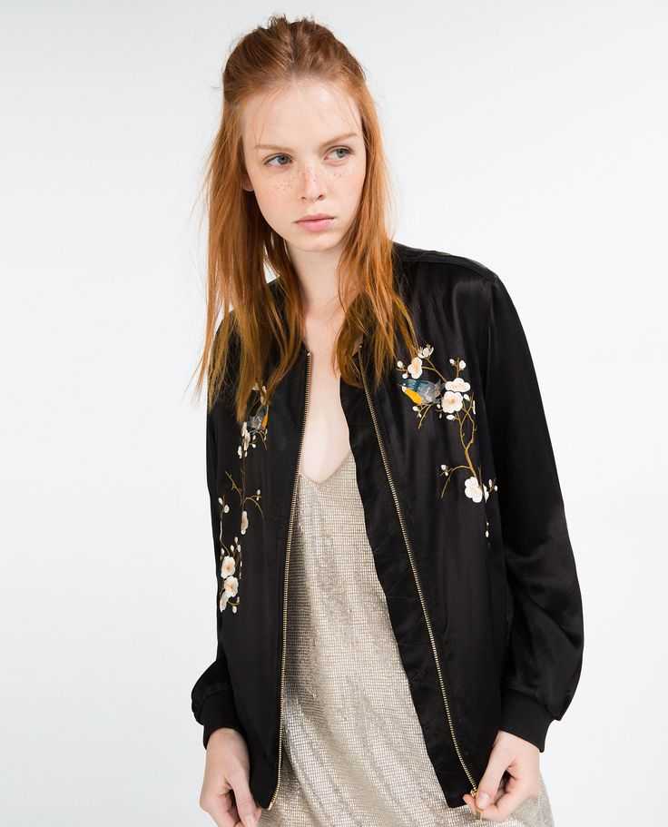 blouson bomber brod fleurs bombers femme zara. Black Bedroom Furniture Sets. Home Design Ideas