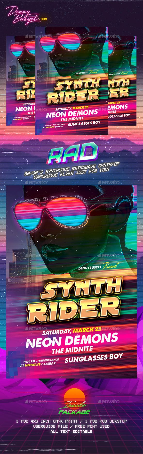 Synth Rider Synthwave Flyer Template — Photoshop PSD #synthwave #rad • Download ➝ https://graphicriver.net/item/synth-rider-synthwave-flyer-template/19667694?ref=pxcr