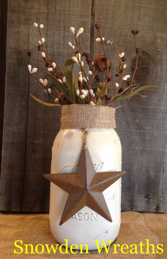 Primitive country decor  painted mason jar with by SnowdenWreaths
