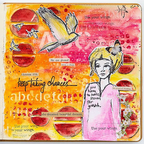 Take Chances Journal Page Tutorial by Anna-Karin Evaldsson. Made for the Simon Says Stamp Store blog, with stamps, stencils and media by Dina Wakley and Ranger Ink.