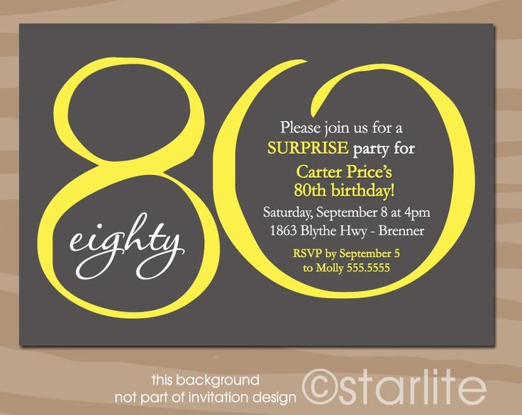 Milestone Birthday invitation, Modern Number - Yellow Dark Gray - any age number 20 30 40 50 60 70 80 90th - PRINTABLE INVITATION DESIGN. $15.00, via Etsy.