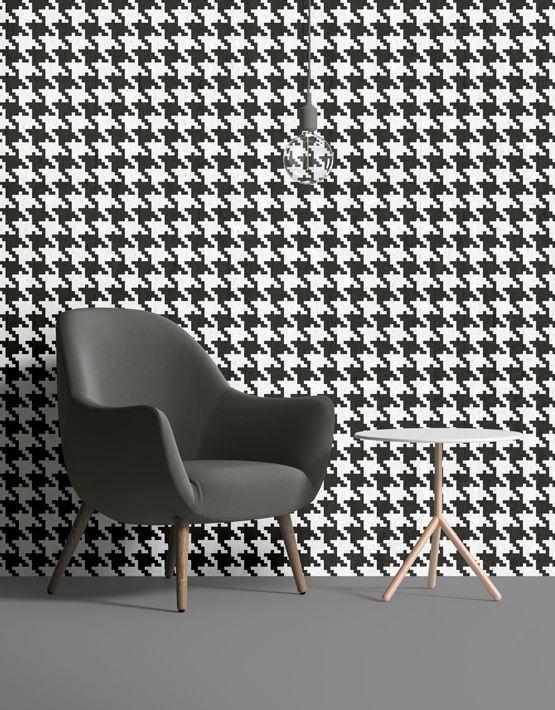 Pop Pied de poule #wallpaper in black. Buy on www.mrmanu.com