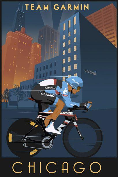 Steve Thomas [Illustration]: Poster for Team Garmin Sharp Barracuda