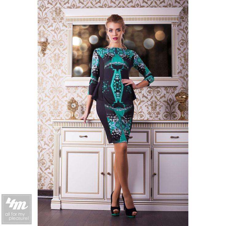 Платье Glem «Богемия» (Черная отделка, изумруд) http://lnk.al/3mZo  Состав: французский трикотаж (70% шерсть, 30% полиэстер)