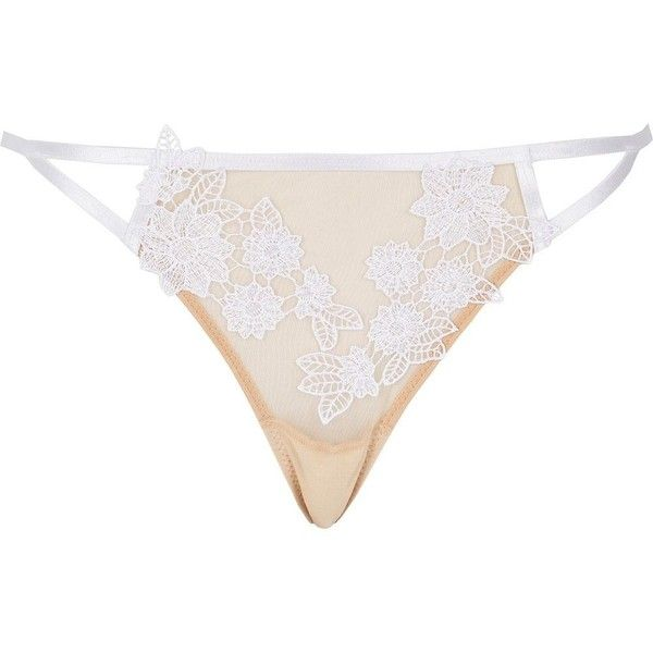 River Island White mesh floral appliqué knickers ($16) ❤ liked on Polyvore featuring intimates, panties, lingerie, white knickers, river island, floral lingerie, underwear lingerie and white lingerie