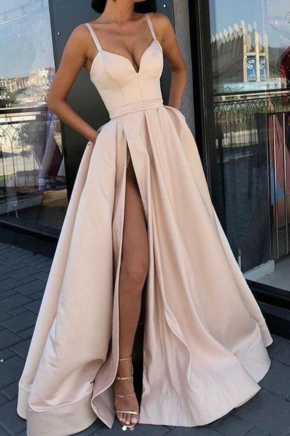 Spaghetti-Trägern Elegante Slit Fancy Prom Dresse…